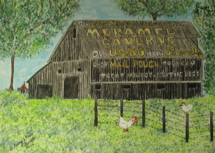 Chew Mail Pouch Greeting Card featuring the painting Chew Mail Pouch Barn by Kathy Marrs Chandler