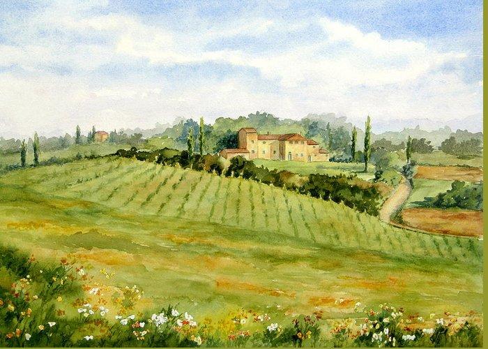 Chianti Villa Greeting Card featuring the painting Chianti Villa by Vikki Bouffard