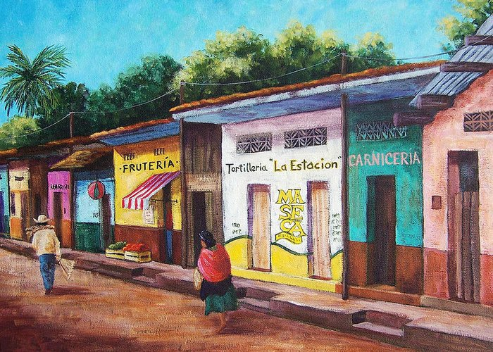 Landscape Greeting Card featuring the painting Chiapas Neighborhood by Candy Mayer