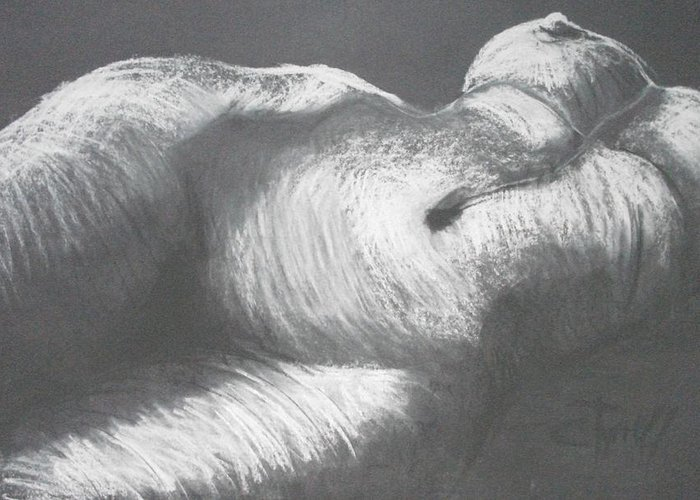 Original Greeting Card featuring the drawing Chiaroscuro - Torso by Carmen Tyrrell