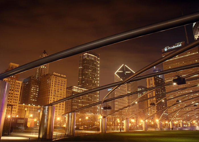 Hdr Greeting Card featuring the photograph Chicago At Night by Andreas Freund