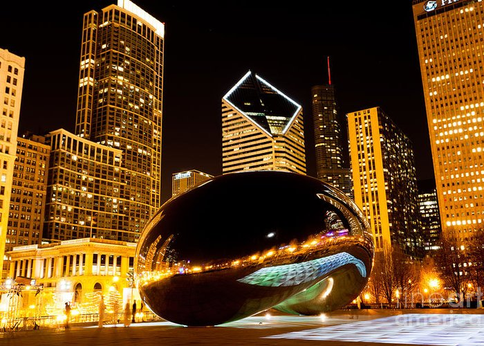 2012 Greeting Card featuring the photograph Chicago Bean Cloud Gate At Night by Paul Velgos