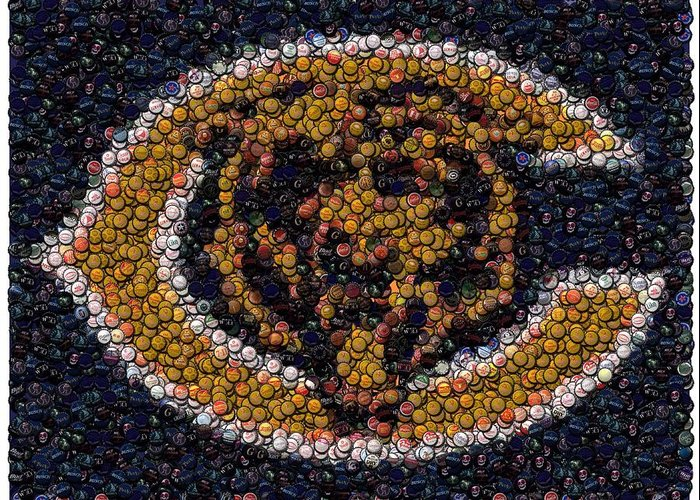 Chicago Bears Greeting Card featuring the digital art Chicago Bears Bottle Cap Mosaic by Paul Van Scott