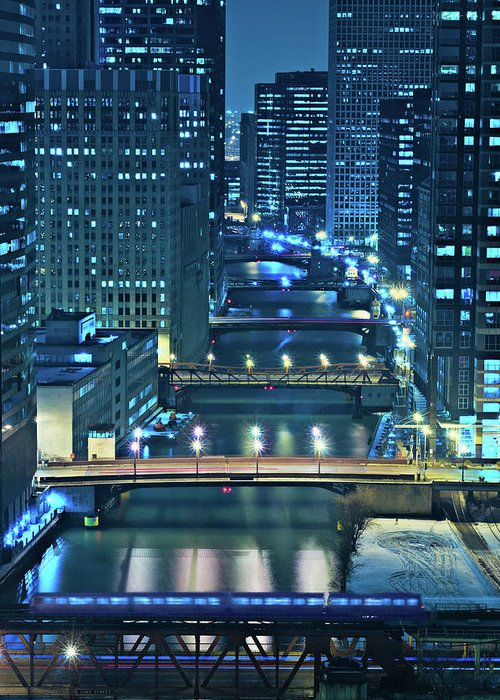 Chicago Greeting Card featuring the photograph Chicago Bridges by Steve Gadomski