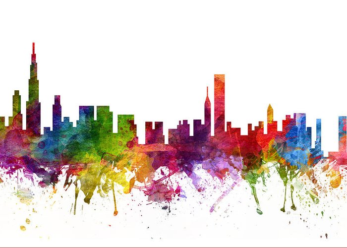 Chicago Greeting Card featuring the drawing Chicago Cityscape 06 by Aged Pixel
