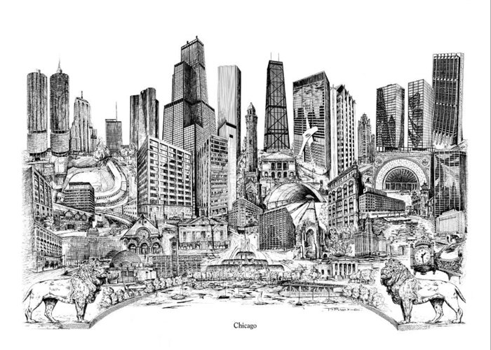 City Drawing Greeting Card featuring the drawing Chicago by Dennis Bivens
