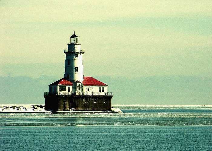 Harbor Lighthouse Greeting Card featuring the photograph Chicago Harbor Lighthouse by Kyle Hanson