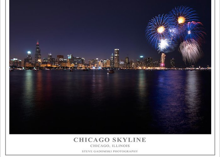4th Greeting Card featuring the photograph Chicago Lakefront Skyline Poster by Steve Gadomski