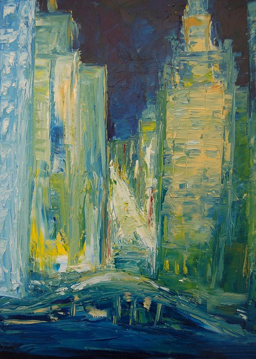 Konkol Greeting Card featuring the painting Chicago Lights by Lisa Konkol