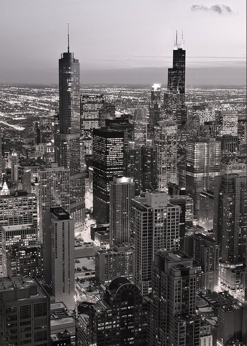 Aerial Greeting Card featuring the photograph Chicago Loop Sundown B And W by Steve Gadomski