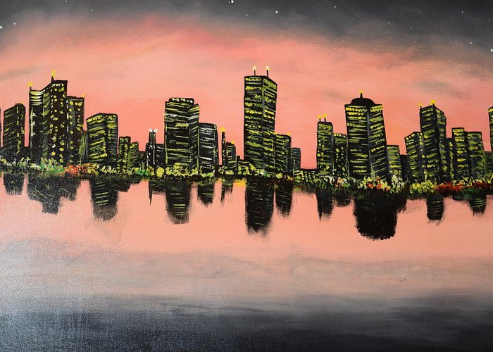Contemporary Greeting Card featuring the painting Chicago by Maria Isabel Storniolo