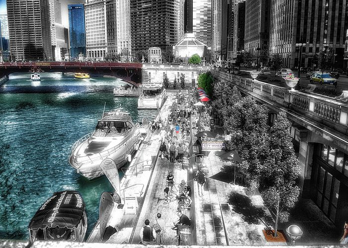 Chicago Greeting Card featuring the photograph Chicago Parked On The River Walk 03 Sc by Thomas Woolworth