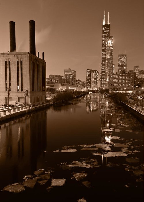 Chicago Greeting Card featuring the photograph Chicago River B And W by Steve Gadomski