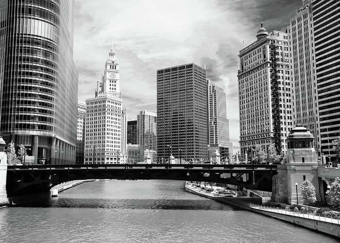 Bridge Greeting Card featuring the photograph Chicago River Buildings Skyline by Paul Velgos