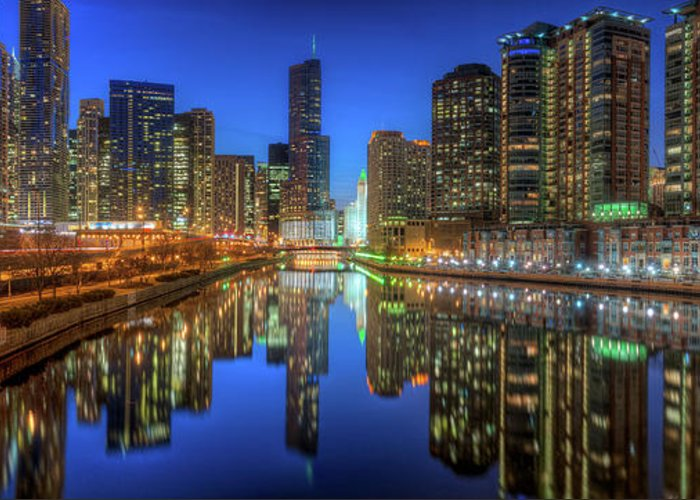 Chicago Greeting Card featuring the photograph Chicago River East by Steve Gadomski
