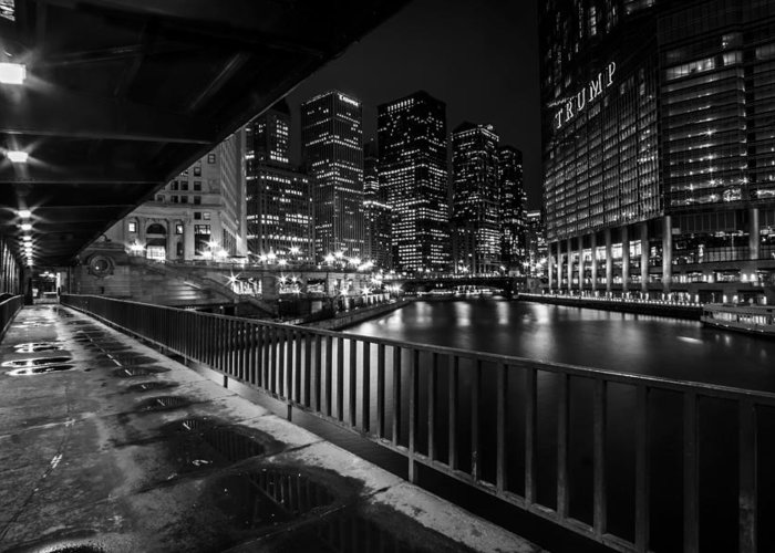 Chicago Greeting Card featuring the photograph Chicago River View In Black And White by Sven Brogren