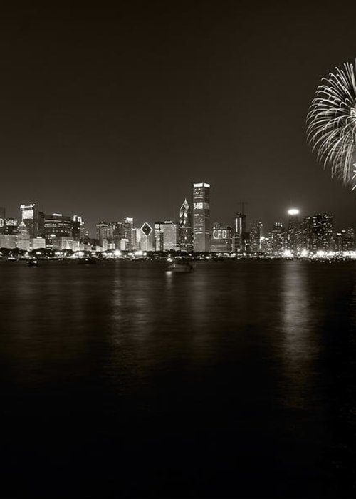 4th Greeting Card featuring the photograph Chicago Skyline Fireworks Bw by Steve Gadomski