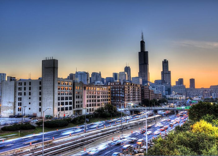 Chicago Greeting Card featuring the photograph Chicago Sunrise Rush Hour by Shawn Everhart