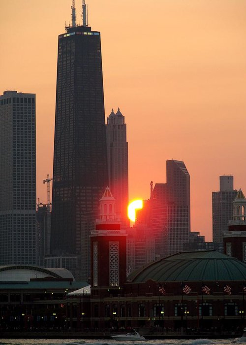 Photography Greeting Card featuring the photograph Chicago Sunset by Glory Fraulein Wolfe