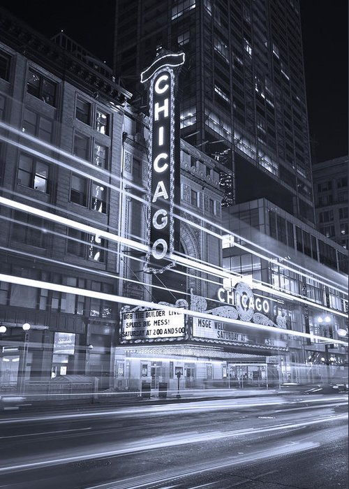 Chicago Greeting Card featuring the photograph Chicago Theater Marquee B And W by Steve Gadomski