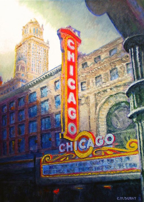 Chicago Greeting Card featuring the painting Chicago Theater by Michael Durst