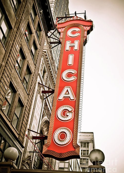 Chicago Greeting Card featuring the photograph Chicago Theater Sign Marquee by Paul Velgos