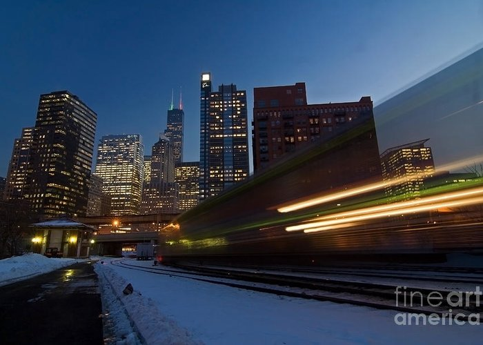 Chicago Skyline Greeting Card featuring the photograph Chicago Train Blur by Sven Brogren