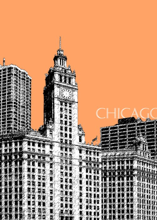 Architecture Greeting Card featuring the digital art Chicago Wrigley Building - Salmon by DB Artist