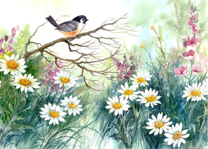 Chickadee;birds;daisies;floral;watercolor Painting; Greeting Card featuring the painting Chickadee and Daisies by Lois Mountz