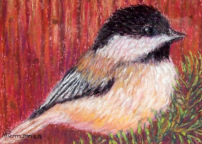 Chickadee Greeting Card featuring the pastel Chickadee by Sandy Hemmer