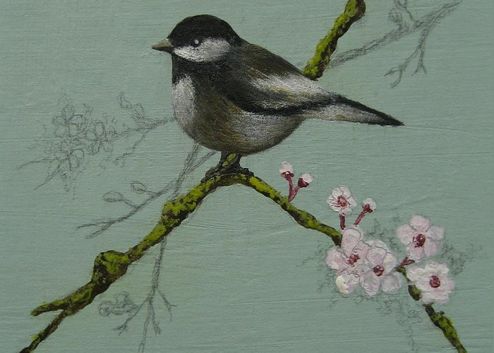 Miniature Greeting Card featuring the painting Chickadee by Victoria Heryet