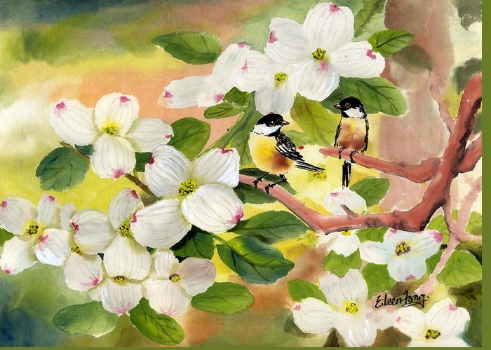 Chickadees Greeting Card featuring the painting Chickadees In The Dogwood Tree by Eileen Fong