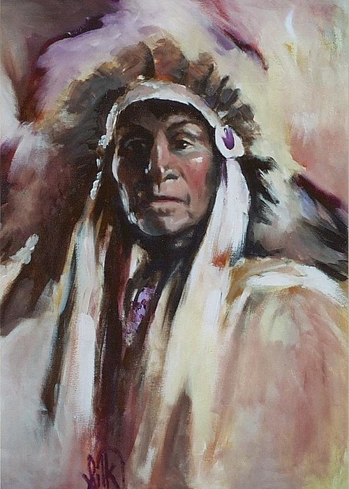 Native American Greeting Card featuring the painting Chief 1 by Elizabeth Silk