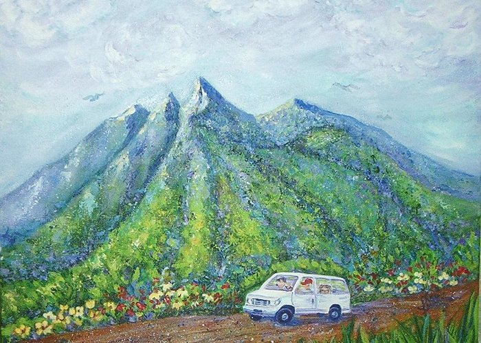 Mountains Greeting Card featuring the painting Chief And Amigos South Of The Border by Sheri Hubbard