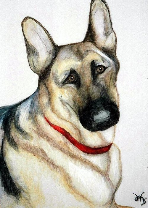 German Shepherd Pet Potraits Greeting Card featuring the painting Chief by Debra Sandstrom