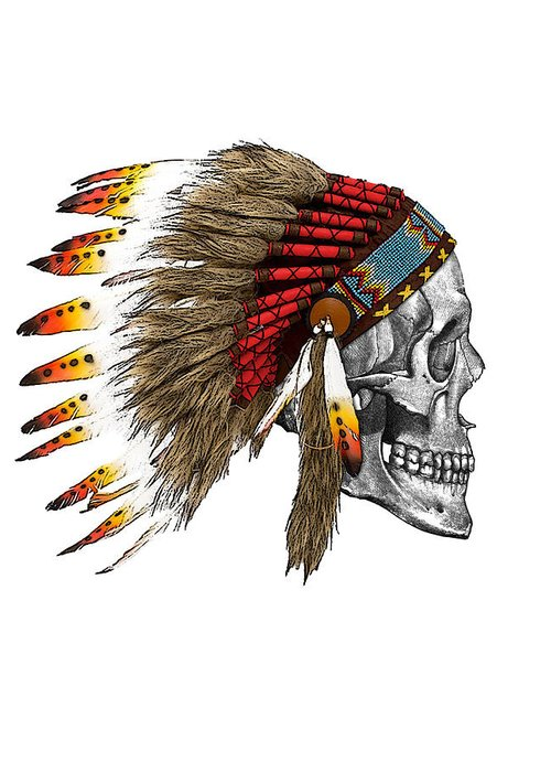 Indian Greeting Card featuring the digital art Chief headdress on human skull native american art by Madame Memento