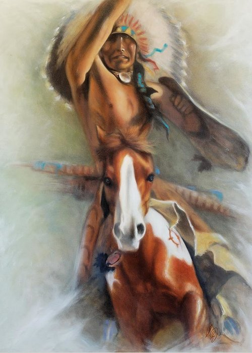 Native American Greeting Card featuring the painting Chief Hole In The Day by Elizabeth Silk
