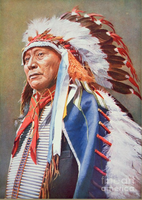 Chief Greeting Card featuring the painting Chief Hollow Horn Bear by American School