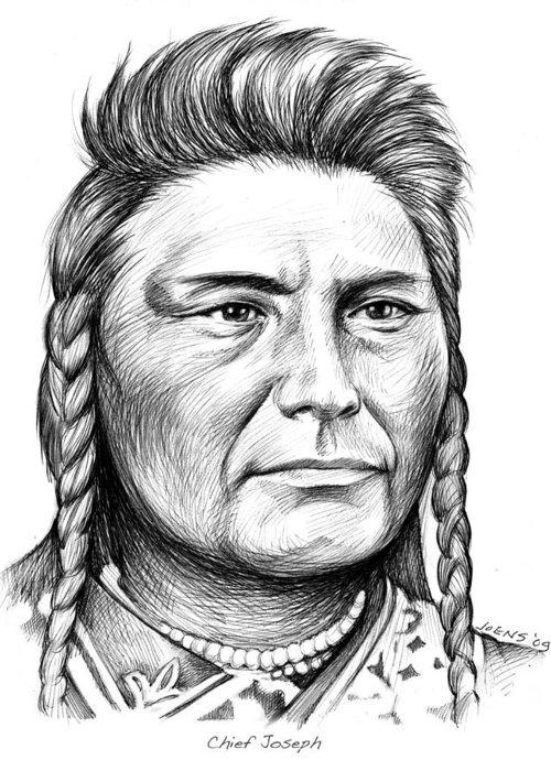 Chief Joseph Greeting Card featuring the drawing Chief Joseph by Greg Joens