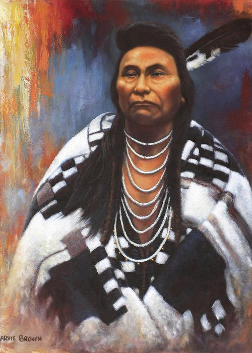 Native American Greeting Card featuring the painting Chief Joseph by Harvie Brown