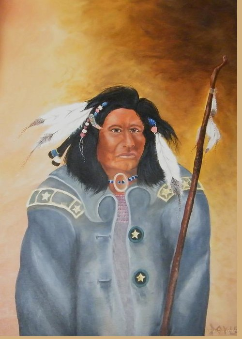 Greeting Card featuring the painting Chief Noneck by Larry Doyle
