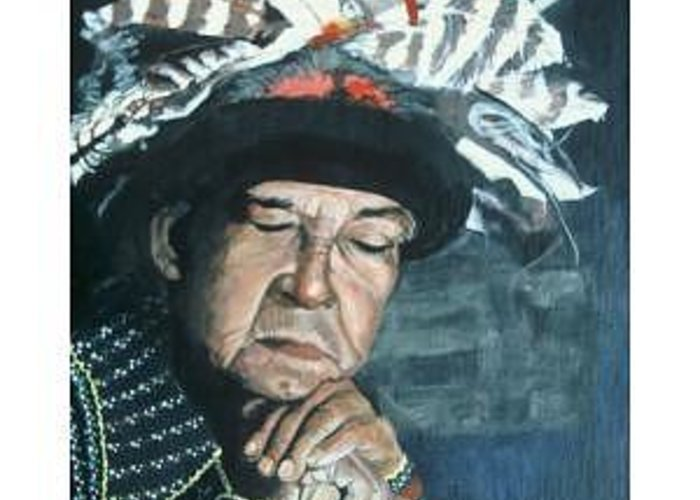 American Indian Greeting Card featuring the painting Chief by Terri Kilpatrick
