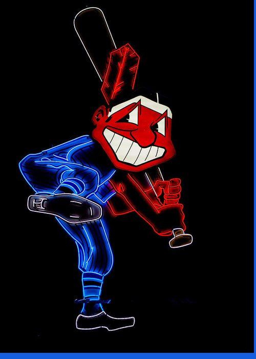 Cleveland Greeting Card featuring the photograph Chief Wahoo by Stewart Helberg