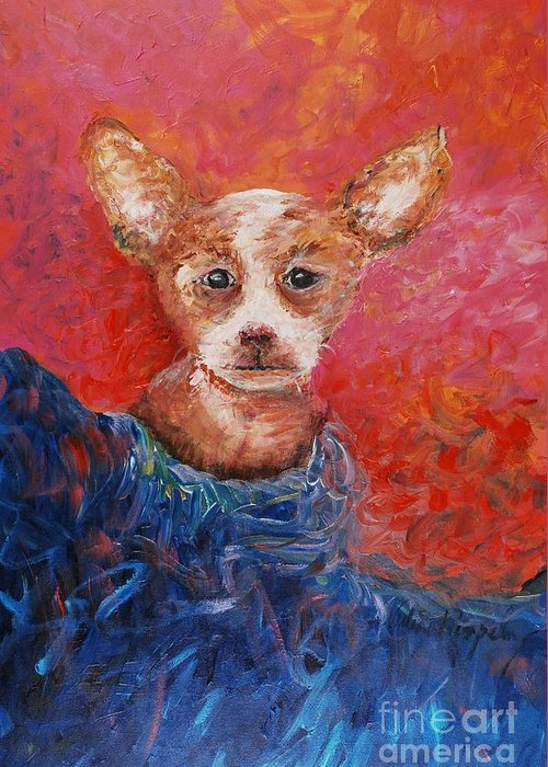 Dog Greeting Card featuring the painting Chihuahua Blues by Nadine Rippelmeyer