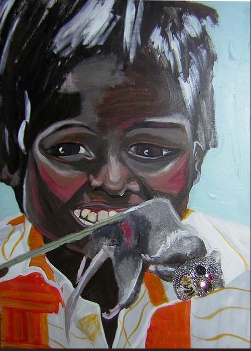 Greed Greeting Card featuring the painting Child Eating A Rat 2007 For The Love Of Money by Michelley QueenofQueens