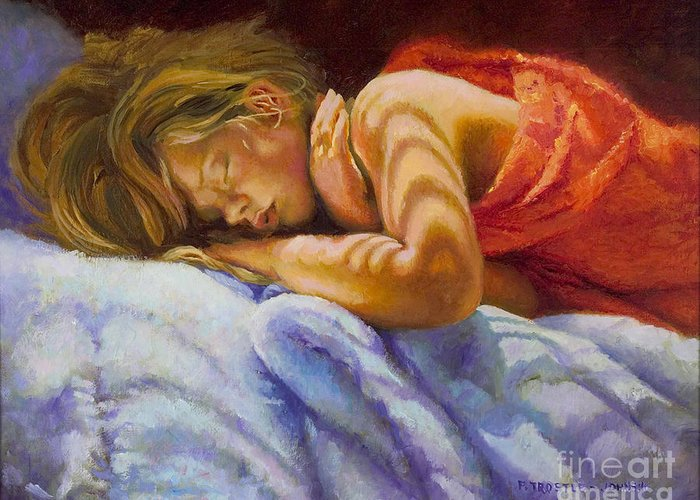 Wall Art Greeting Card featuring the painting Child Sleeping Print Wall Art Room Decor by Patti Trostle