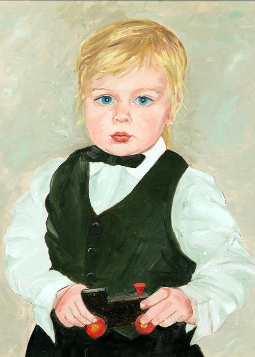 Child Greeting Card featuring the painting Child With A Toy by Ethel Vrana