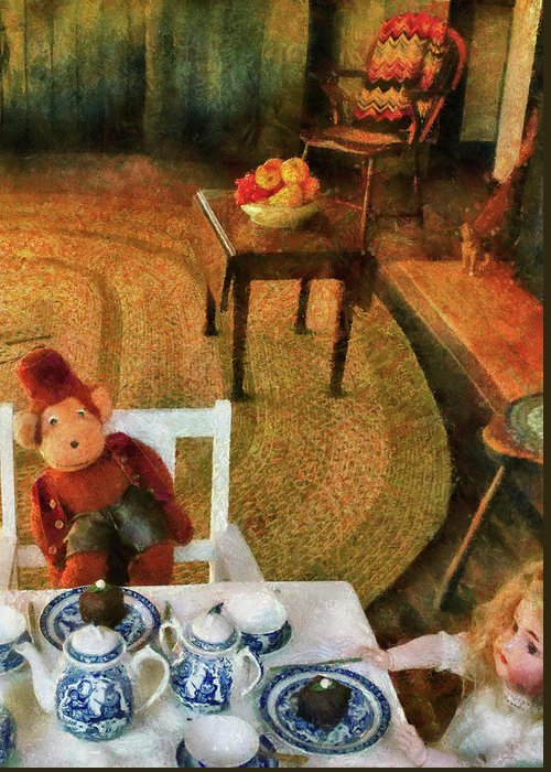 Savad Greeting Card featuring the photograph Children - Toys - The Tea Party by Mike Savad