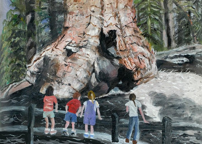 Children Greeting Card featuring the painting Children At Sequoia National Park by Quwatha Valentine