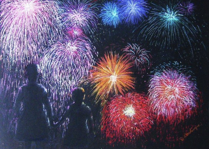 Fireworks Greeting Card featuring the pastel Children On The 4th Of July by Diane Larcheveque